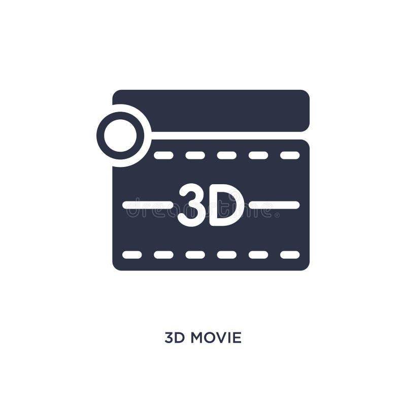 symbol för film 3d på vit bakgrund Enkel beståndsdelillustration från biobegrepp stock illustrationer