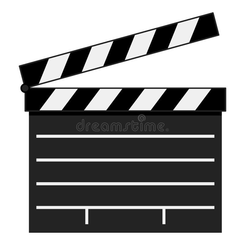 Symbol för filmpanelbrädalägenhet som isoleras på vit royaltyfri illustrationer