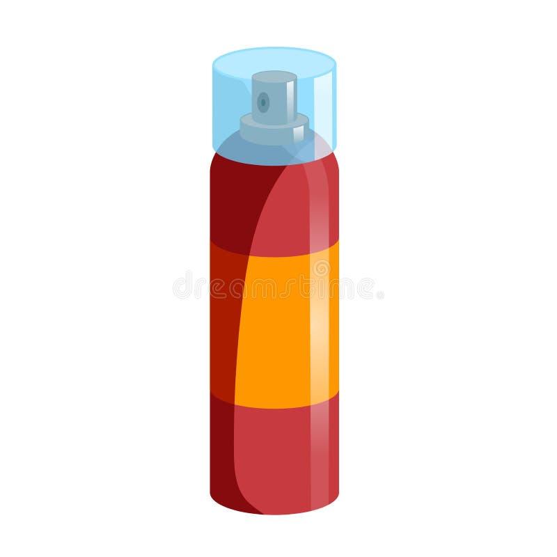 Symbol för fixering för sprej för hår för lutning för tecknad filmstil enkel Stängd röd flaska med genomskinligt Håromsorg och ut royaltyfri illustrationer