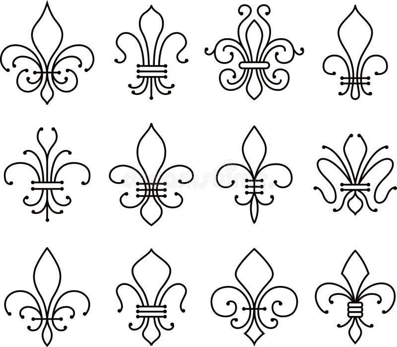 Symbol för Fleur de lys snirkelbeståndsdelar stock illustrationer