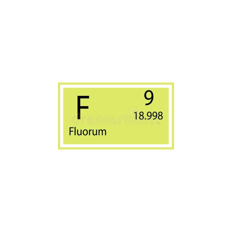 Symbol för fluorum för beståndsdel för periodisk tabell Beståndsdel av den kemiska teckensymbolen Högvärdig kvalitets- symbol för royaltyfri illustrationer