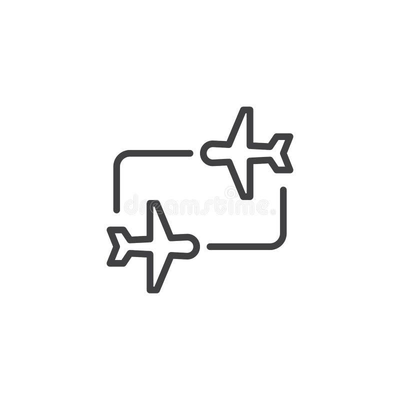 Symbol för flygöverföringsöversikt royaltyfri illustrationer