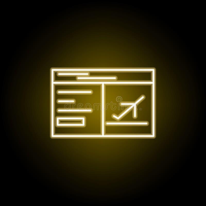 Symbol f?r flygplanbiljett i neonstil Best?ndsdel av loppillustrationen Tecknet och symboler kan anv?ndas f?r reng?ringsduken, lo royaltyfri illustrationer