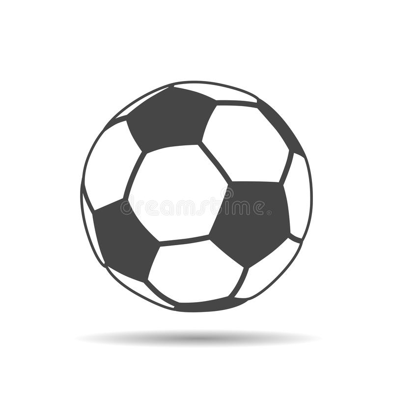 symbol för fotbollboll med skugga på vit bakgrund royaltyfri illustrationer
