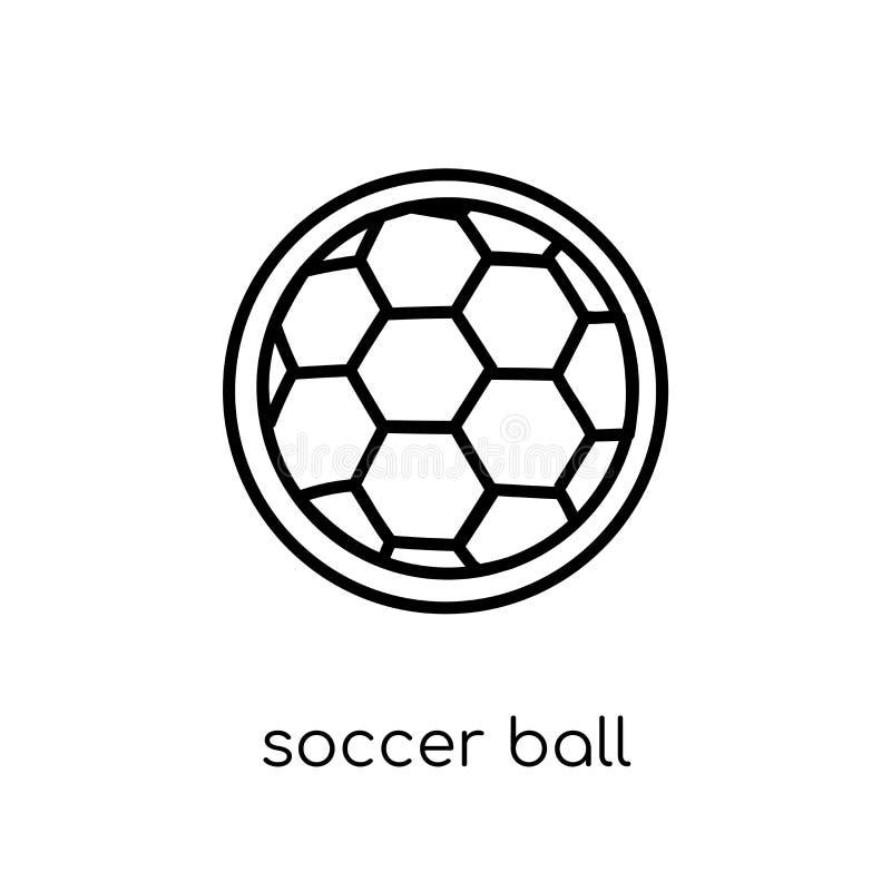Symbol för fotbollboll Moderiktig modern plan linjär vektorfotbollboll I vektor illustrationer