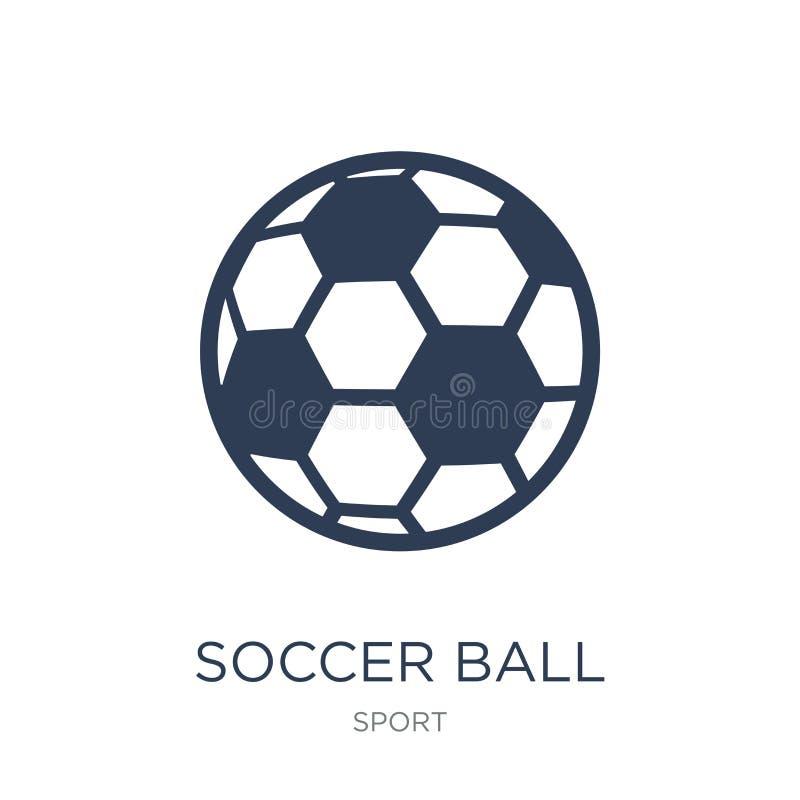 Symbol för fotbollboll Moderiktig plan symbol för vektorfotbollboll på vitt b royaltyfri illustrationer
