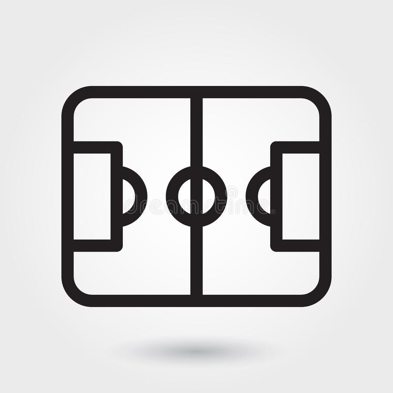 Symbol för fotbolljakt och fiskevektor, symbol för sportfält, symbol för fotbollfält Modern enkel översikt, översiktsvektorillust vektor illustrationer