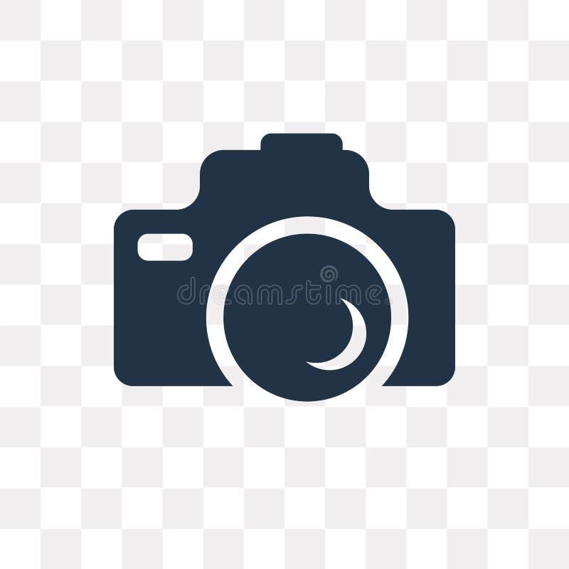 Symbol för fotokameravektor som isoleras på genomskinlig bakgrund, Pho stock illustrationer