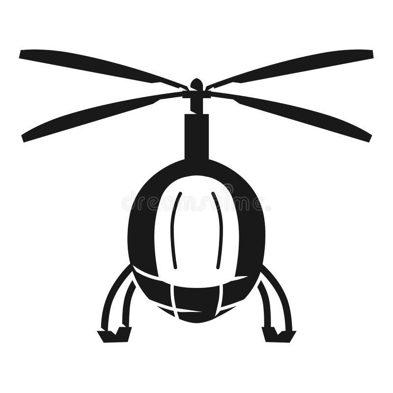 Symbol för främre sikt för polishelikopter, enkel stil stock illustrationer