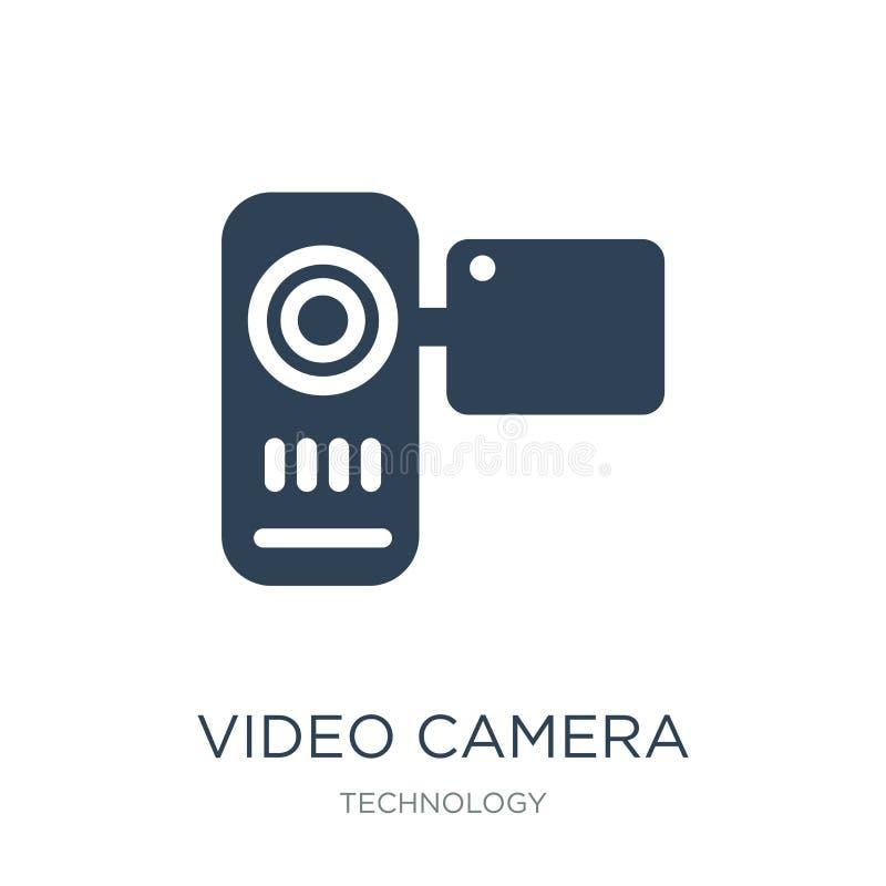 symbol för främre sikt för videokamera i moderiktig designstil symbol för främre sikt för videokamera som isoleras på vit bakgrun royaltyfri illustrationer