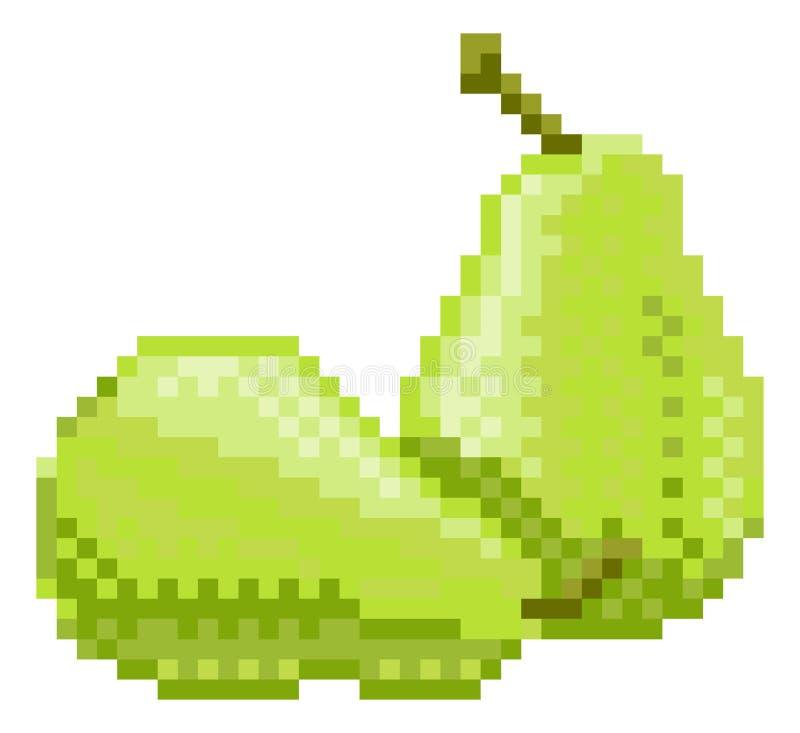 Symbol för frukt för videospel för bit för päronPIXELkonst 8 vektor illustrationer