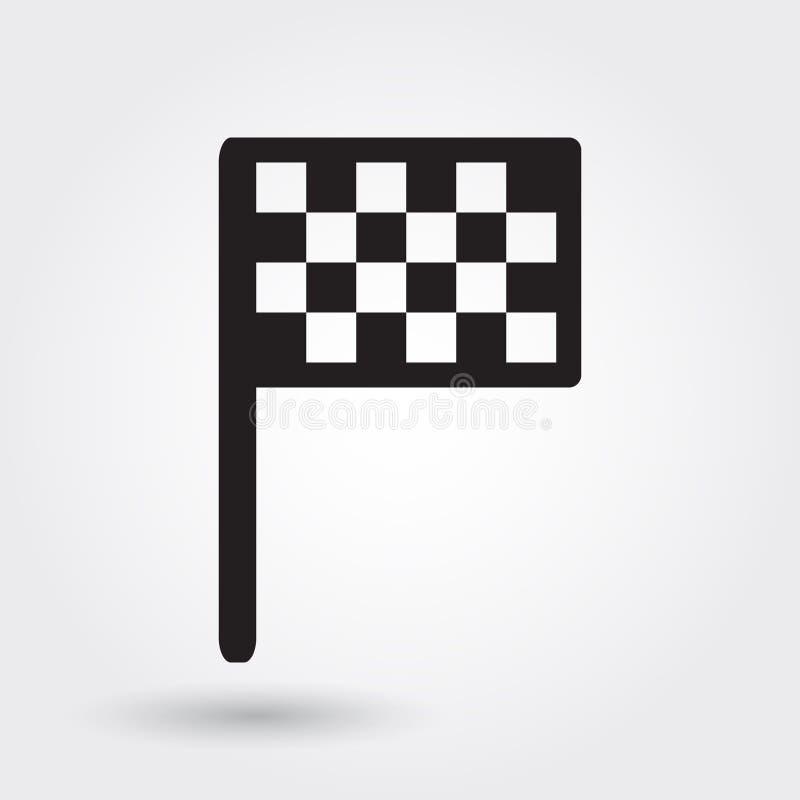 Symbol för fullföljandeflaggavektor, loppsportsymbol som springer flaggasymbol Modern enkel skåra, fast vektorillustration stock illustrationer
