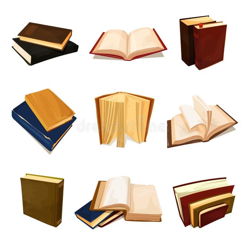 Symbol för gamla böcker uppsättning, litteratur- och arkiv royaltyfri illustrationer