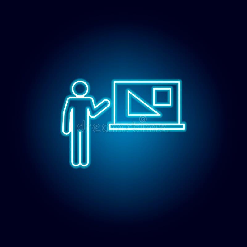 symbol för geometrilärare i blå neonstil Pictogram f?r utbildningssymboltecken royaltyfri illustrationer