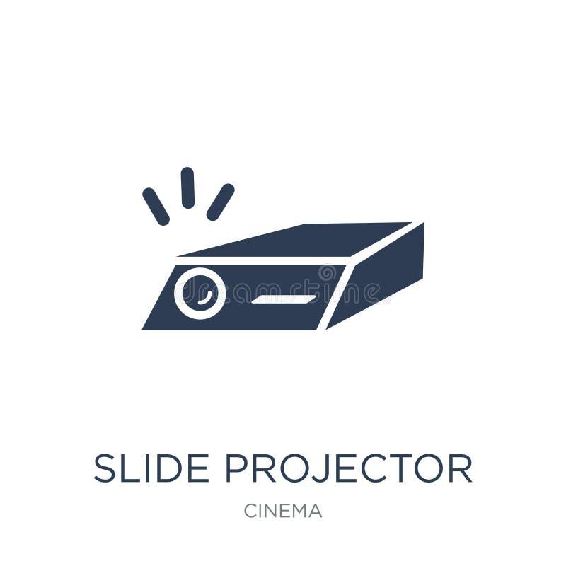symbol för glidbanaprojektor Moderiktig plan symbol för vektorglidbanaprojektor på royaltyfri illustrationer