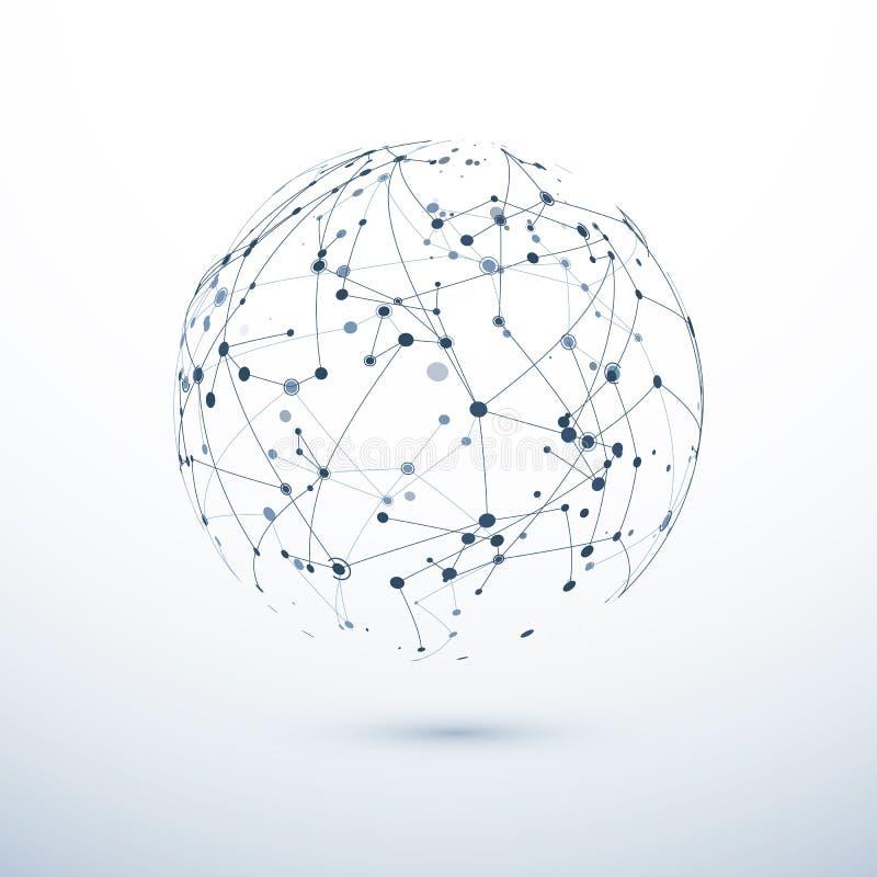 Symbol för globalt nätverk Abstrakt struktur av den världsomspännande rengöringsduken Sfär med knutpunkter och anslutningar vekto royaltyfri illustrationer