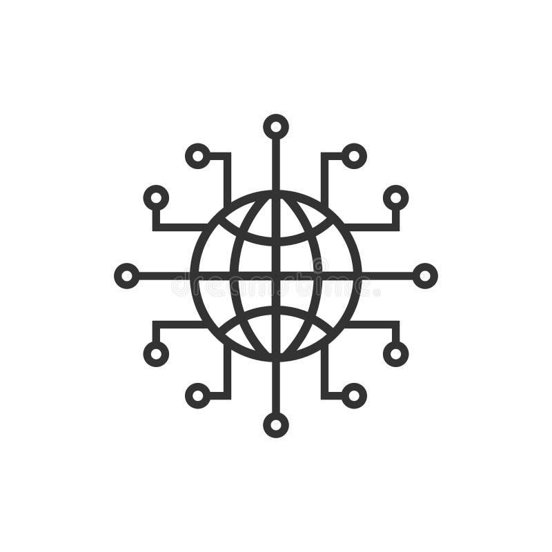 Symbol för globalt nätverk i plan stil Illustration för Cybervärldsvektor på vit isolerad bakgrund 3d framför stock illustrationer