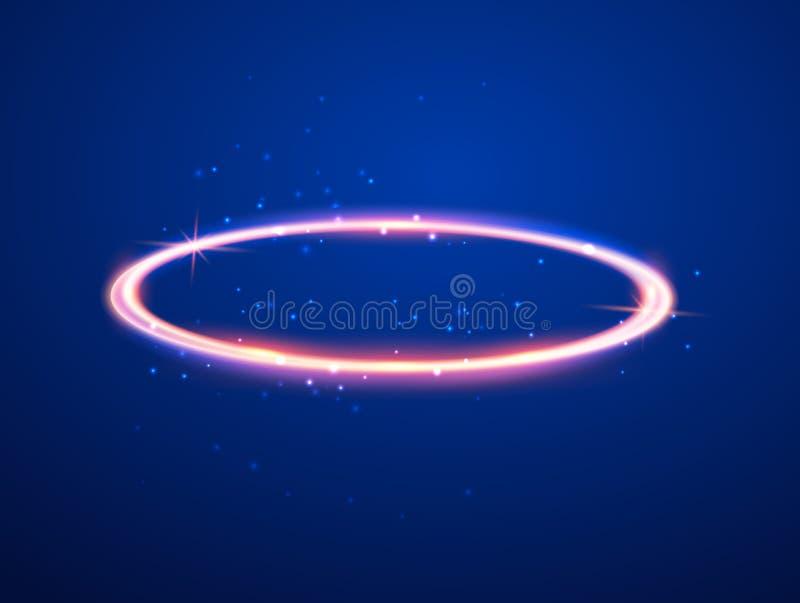 Symbol för gloria för helgon för ängelgloriacirkel Realistisk beståndsdel för helig nimbus för cirkelängelgloria guld- cirkel royaltyfri illustrationer