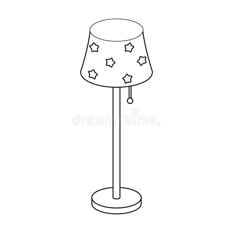 Symbol för golvlampa i översiktsstil som isoleras på vit bakgrund Sova och vila illustrationen för symbolmaterielvektorn royaltyfri illustrationer
