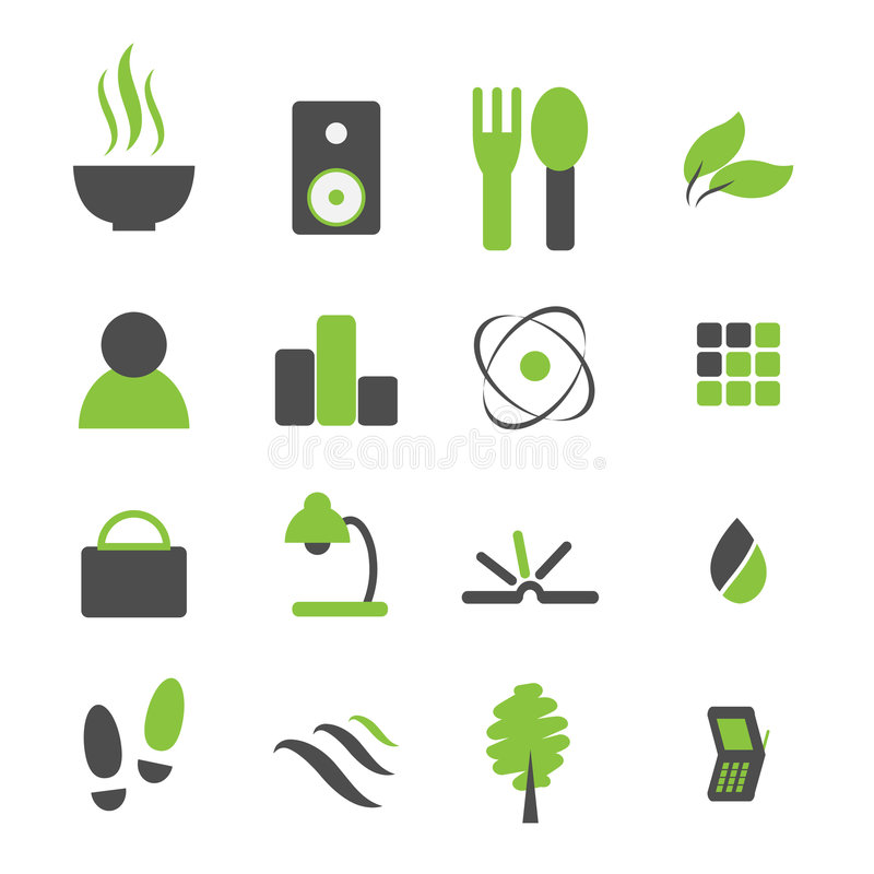 symbol för grön symbol för komp set royaltyfri illustrationer