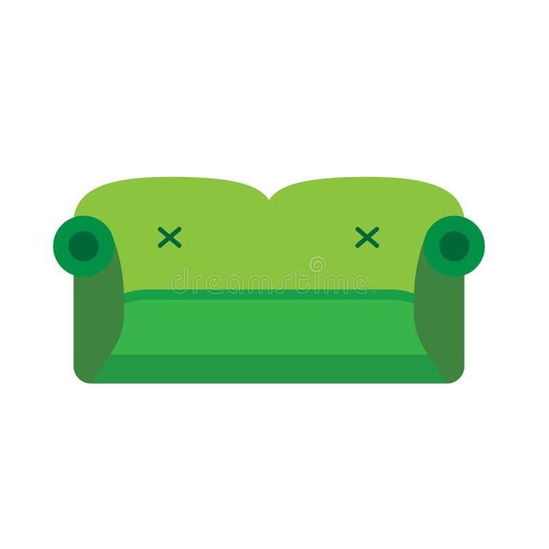 Symbol för grön vektor för främre sikt för soffa plan Bekvämt begrepp för möblemang för rumsoffaintrerior Inomhus mjuk säng vektor illustrationer