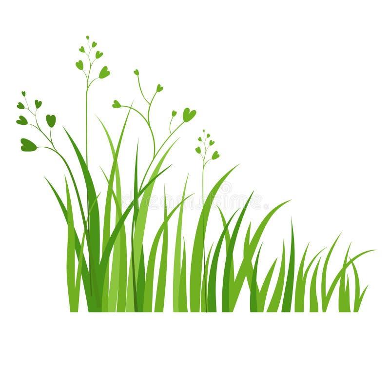 Symbol för grönt gräs stock illustrationer