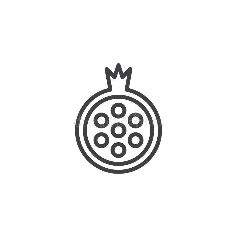 Symbol för granatäpplefruktöversikt stock illustrationer