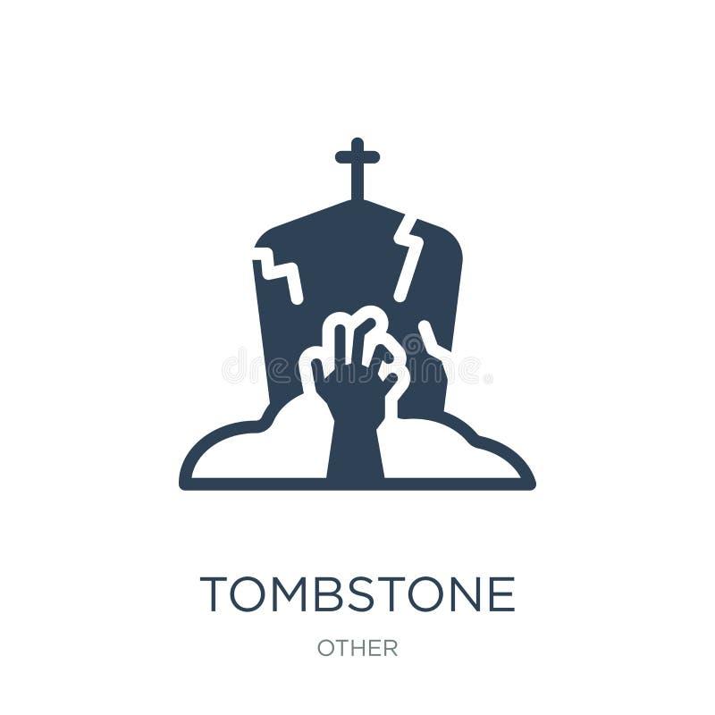 symbol för gravstenlevande dödhand i moderiktig designstil symbol för gravstenlevande dödhand som isoleras på vit bakgrund gravst vektor illustrationer