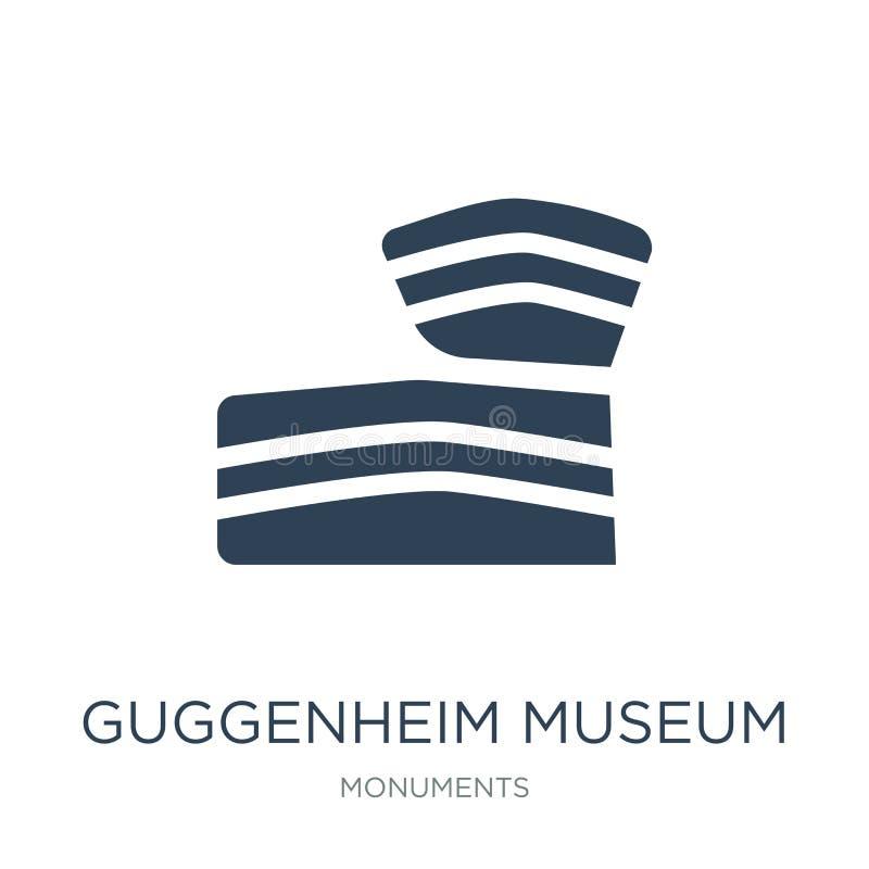symbol för guggenheimmuseum i moderiktig designstil symbol för guggenheimmuseum som isoleras på vit bakgrund symbol för vektor fö royaltyfri illustrationer