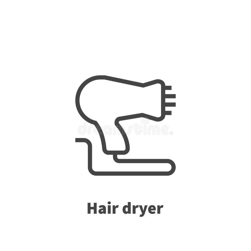 Symbol för hårtork, vektorsymbol stock illustrationer