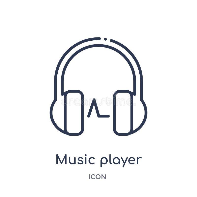 symbol för hörlurar för musikspelare från musik och massmediaöversiktssamling Tunn linje symbol för hörlurar för musikspelare som royaltyfri illustrationer