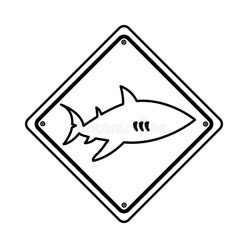 Symbol för hajkonturvarning royaltyfri illustrationer