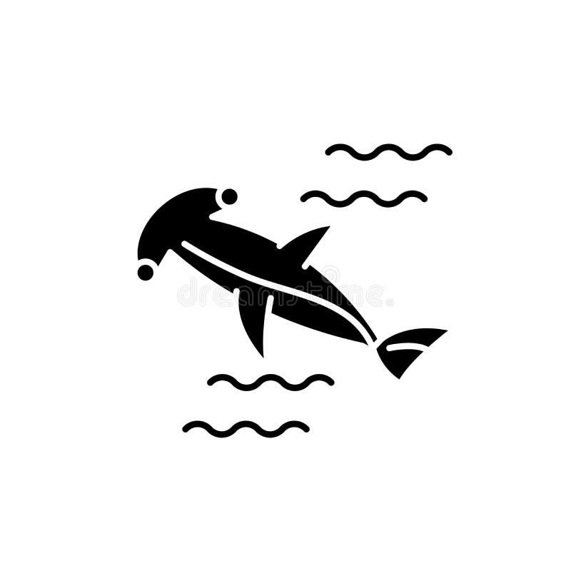 Symbol för hammarefisksvart, vektortecken på isolerad bakgrund Symbol för hammarefiskbegrepp, illustration vektor illustrationer
