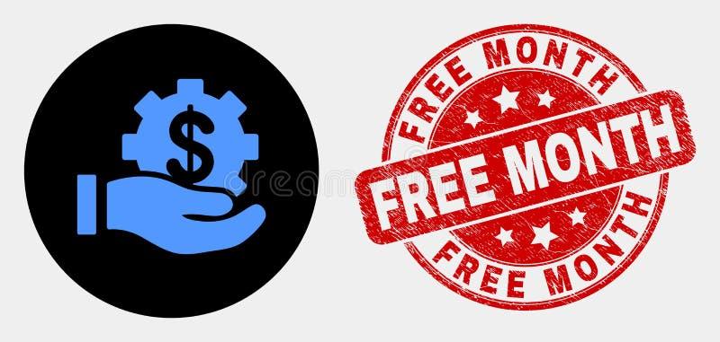 Symbol för hand för vektorfinansiell rådgivningerbjudande och att bedröva den fria månadstämpelskyddsremsan royaltyfri illustrationer