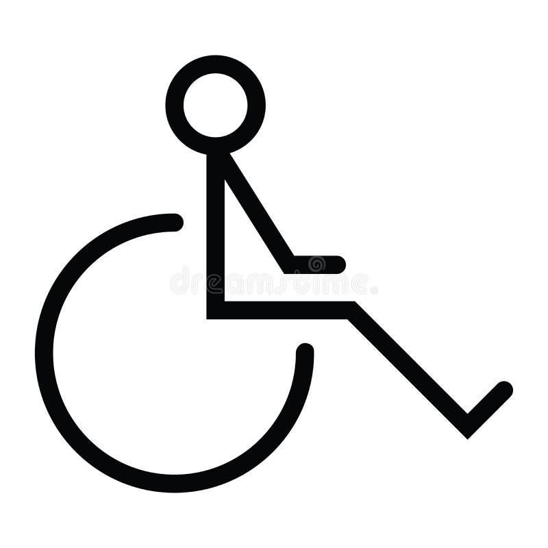 Symbol för handikapphjulstol med översiktsstil vektor illustrationer