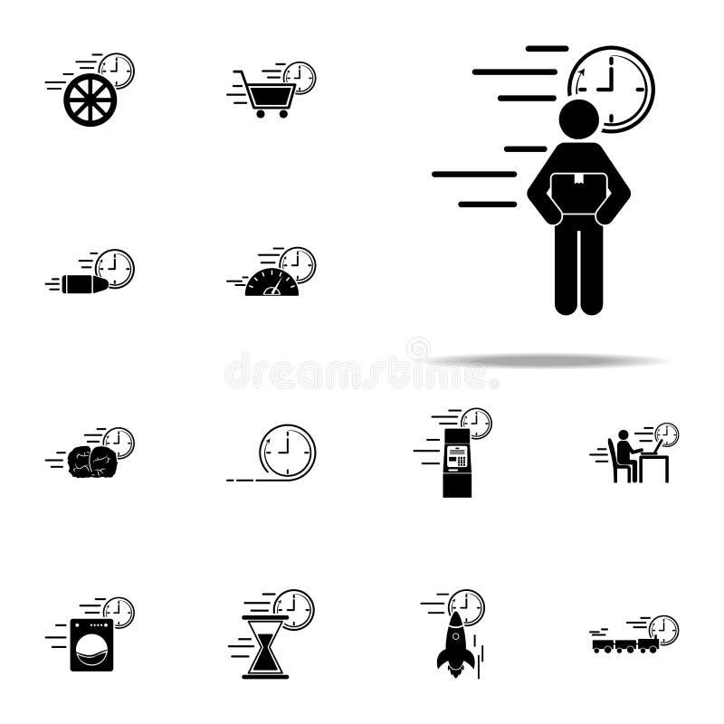 symbol för hastighet för leveransbeställning Universell uppsättning för hastighetssymboler för rengöringsduk och mobil royaltyfri illustrationer