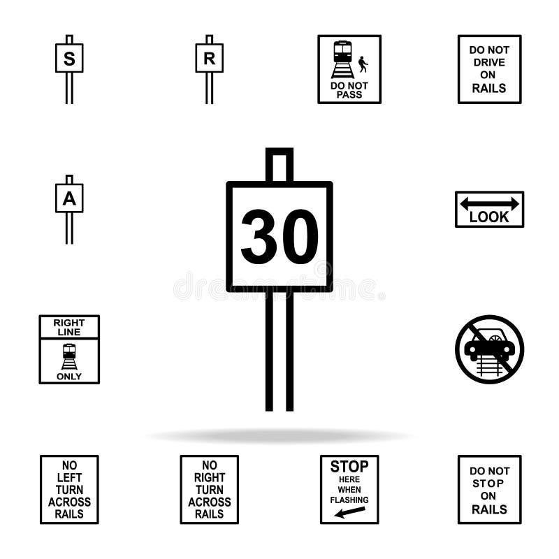 symbol för hastighetsbegränsningtecken 30 Universell uppsättning för järnväg varningssymboler för rengöringsduk och mobil royaltyfri illustrationer