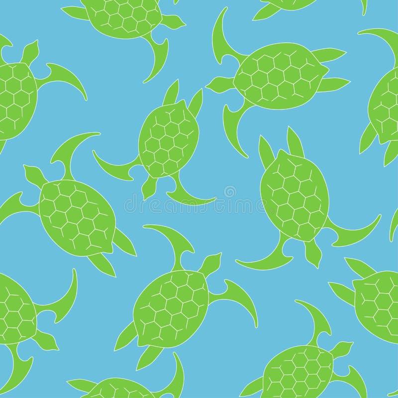 Symbol för havssköldpadda Sömlös modell med turkos för grön sköldpadda på en blå bakgrund Vektorillustration för EPS 10 royaltyfri illustrationer
