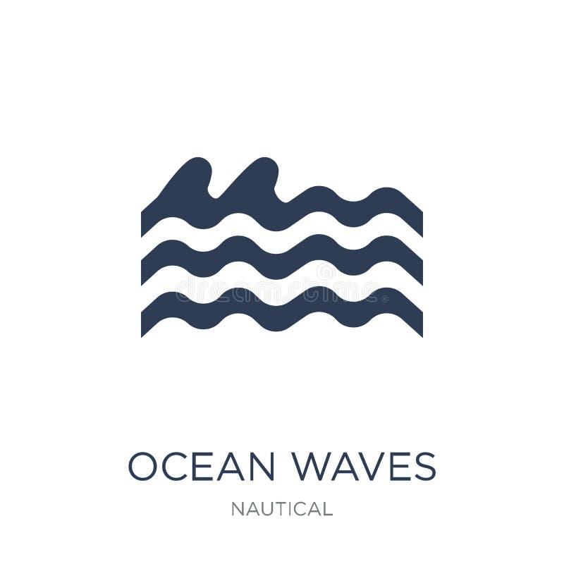 Symbol för havvågor Moderiktig plan symbol för vektorhavvågor på vitt b stock illustrationer