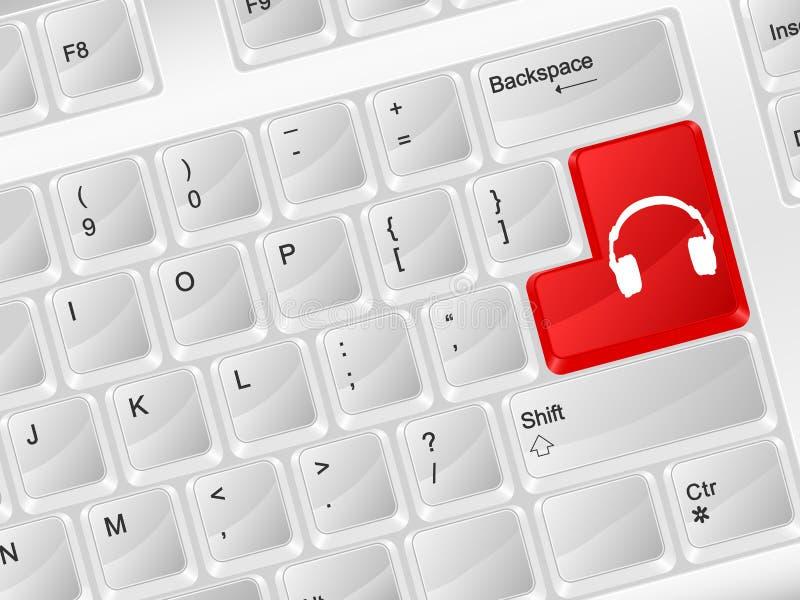 Symbol för headphone för datortangentbord royaltyfri illustrationer
