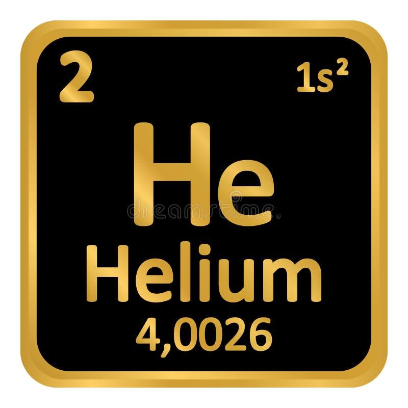 Symbol för helium för beståndsdel för periodisk tabell stock illustrationer