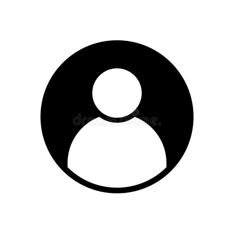 Symbol för heltäckande för svart för avatar för användareprofil vektor illustrationer