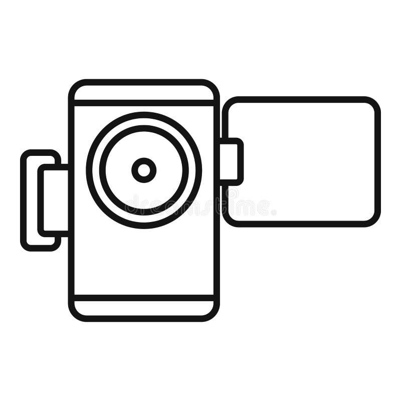 Symbol för hemvideokamera, översiktsstil royaltyfri illustrationer