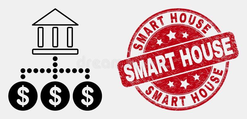 Symbol för hierarki för vektorslaglängdbank och skrapad smart husvattenstämpel stock illustrationer