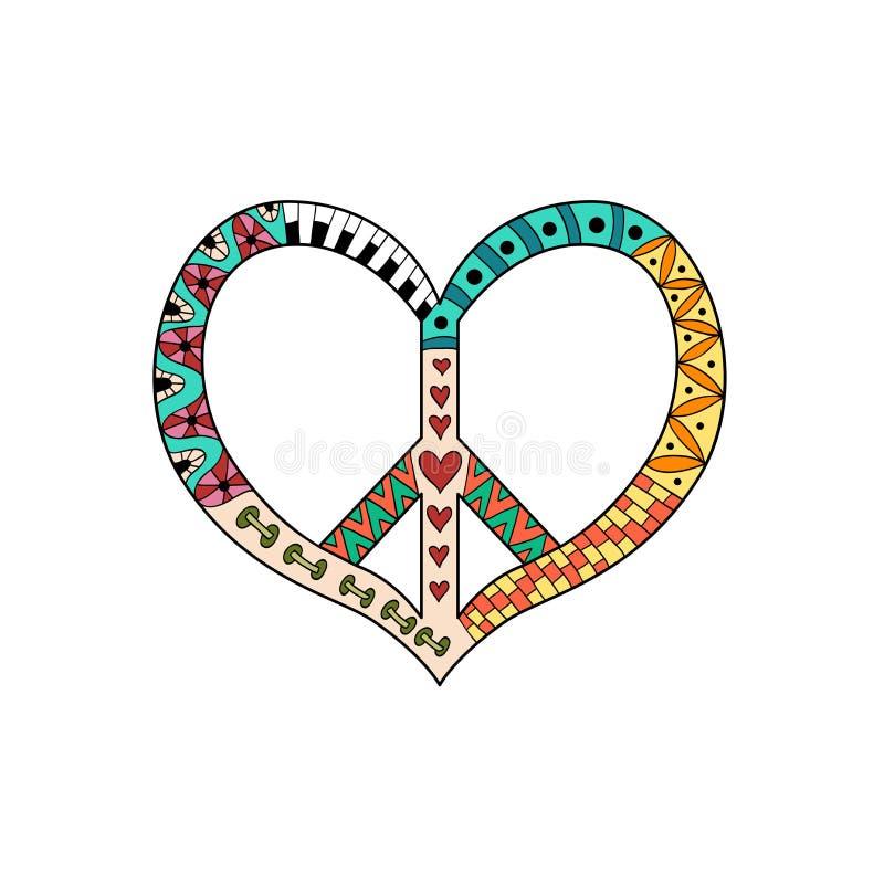 Symbol för hippietappningfred i zentanglestil Stillahavs- underteckna in form för hjärta` s vektor illustrationer