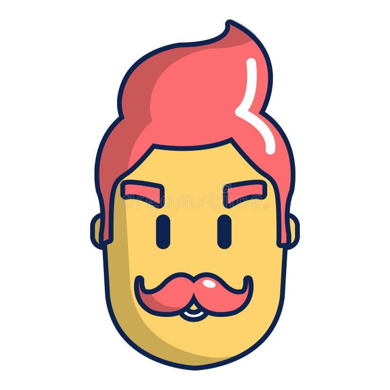 Symbol för Hipstermanframsida, tecknad filmstil stock illustrationer