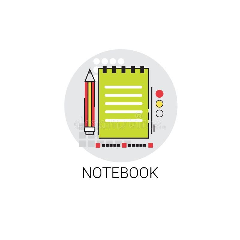 Symbol för hjälpmedel för arbetsbokanteckningsbokhandstil vektor illustrationer