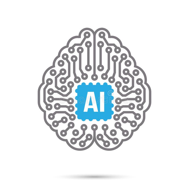 Symbol för symbol för hjärna för strömkrets för teknologi för konstgjord intelligens för AI royaltyfri illustrationer