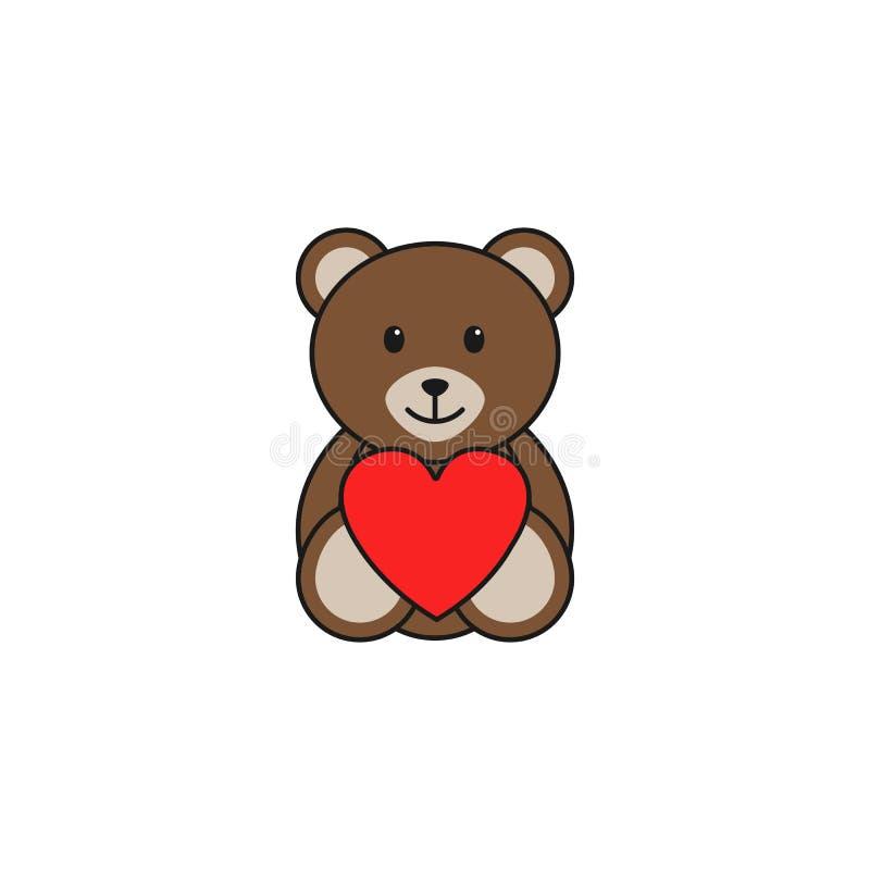 Symbol för hjärta för nallebjörn fast, mjuk leksak royaltyfri illustrationer