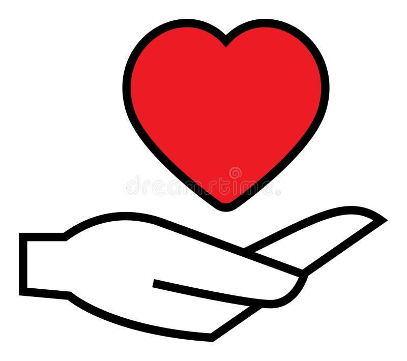 Symbol för hjärta förestående stock illustrationer
